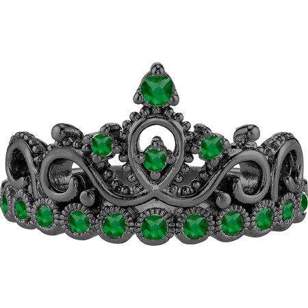 14K Black Gold Emerald Crown Ring (May) (7)