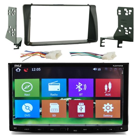 Install Dash Combo - Pyle PLDNV695B 7'' Touch Screen Bluetooth CD/DVD Player GPS Receiver Bundle Combo With Metra 2-Din install Dash Kit + Wiring Radio Harness & Wireless Handset For 2003-08 Toyota Corola Car Vehicles