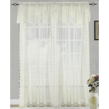 Set Of 2 Jessie Lace And Sheer Curtain Drapery Panel With