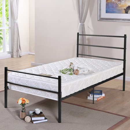 Costway Black Twin Size Metal Bed Frame Platform 6 Legs Headboards ...