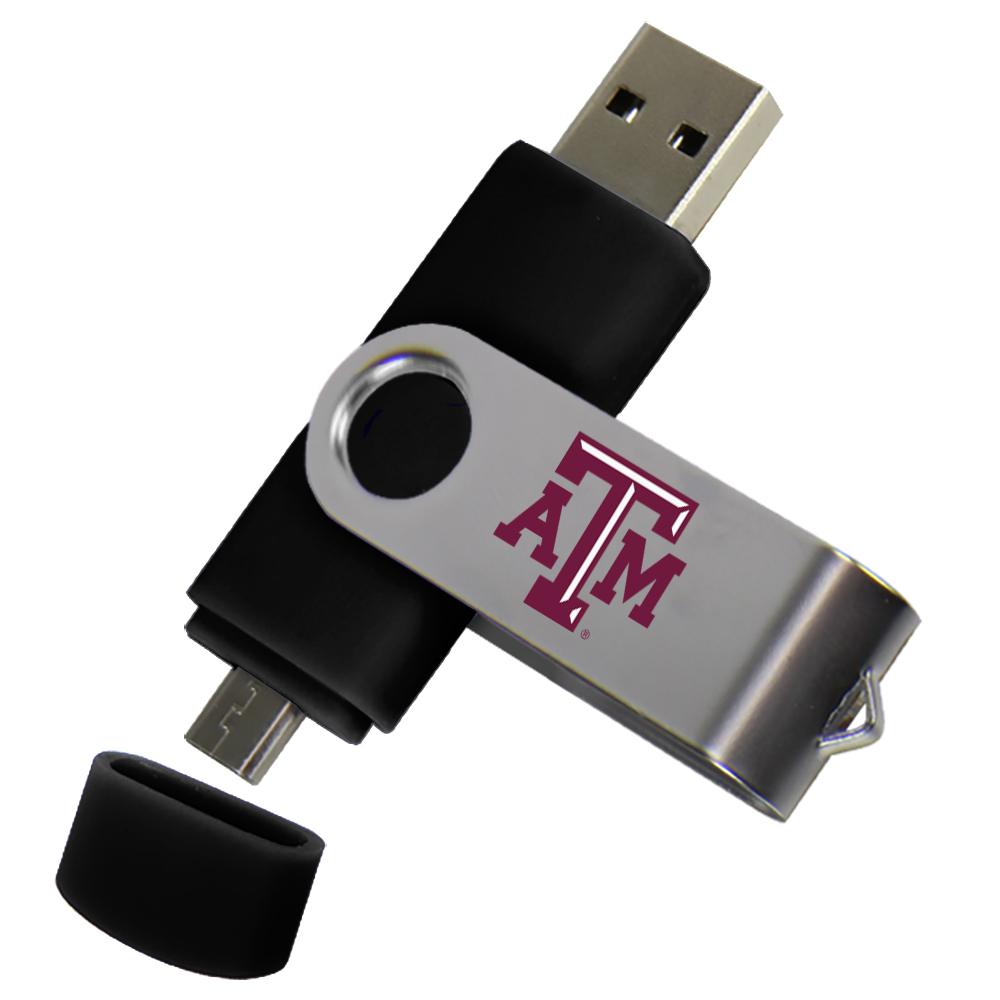 Texas A&M Aggies Dual Pro Micro to USB Drive 16GB Black