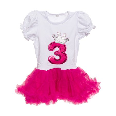 Silver Lilly NEW Baby Girls Birthday Tutu Dress Outfit, Hot Pink, Three Year Old