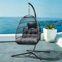 Premium Hanging Egg Swing Chair Fluffy Cushion Large Basket Style Patio Seating Rattan Effect Four Corners Single Hanging Egg Chair with Cushion Color Option and Stand- Brown