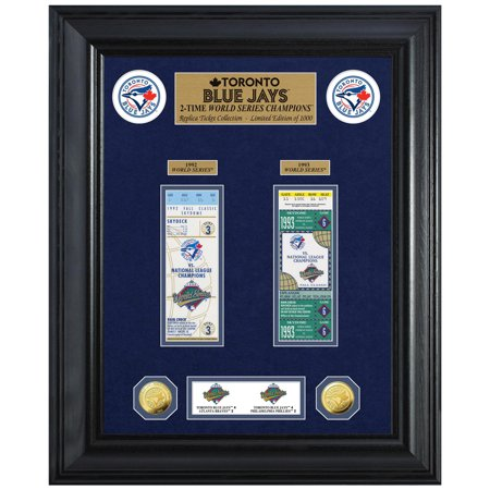 "Toronto Blue Jays Highland Mint 18"" x 22"" 2-Time World Series Champions Deluxe Coin & Ticket Collection Photo Mint - No Size"