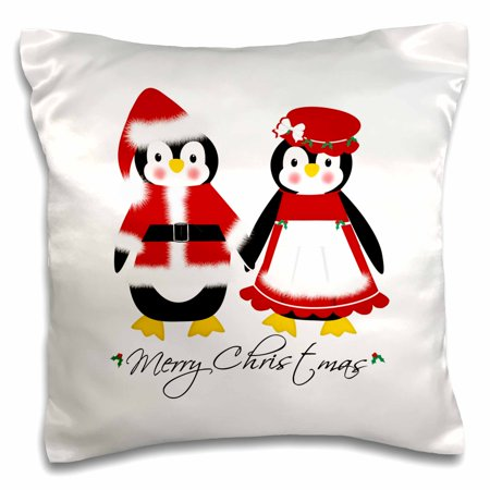 3dRose Cute Merry Christmas Mr and Mrs Santa Penguins, Pillow Case, 16 by 16-inch - Merry Christmas Cute