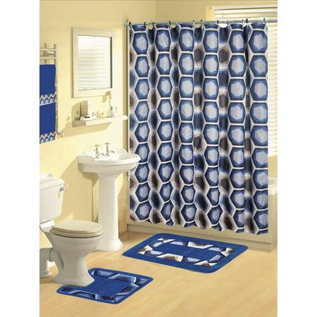 royal navy blue modern 17 piece bathroom set bath rugs