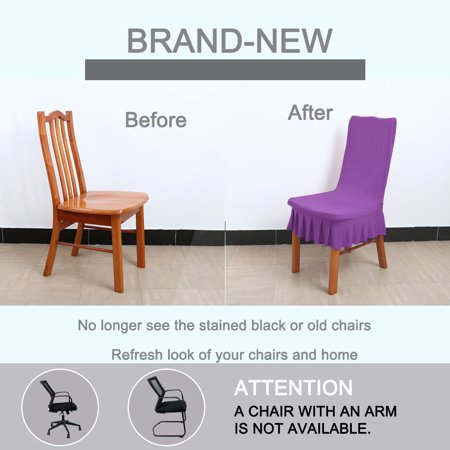 Stretchy Spandex Ruffled Skirt Short Dining Room Chair Covers Washable Removable Seats Protector Slipcovers Purple