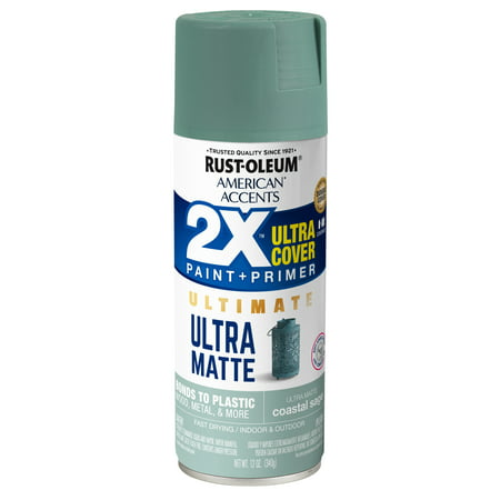 Rust-Oleum American Accents 2X Ultra Cover Ultra Matte Coastal Sage Spray Paint and Primer in 1, 12 oz