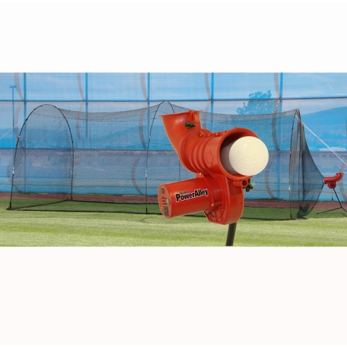 Heater Sports Softball Pitching Machine and PowerAlley 22-Foot Batting Cage