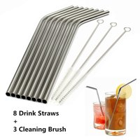 8 Bend LONG Stainless Steel Drink Straws + 3 Cleaning Brush Kit Drinking Straw Metal Washable Reusable NON-TOXIC Unbreakable