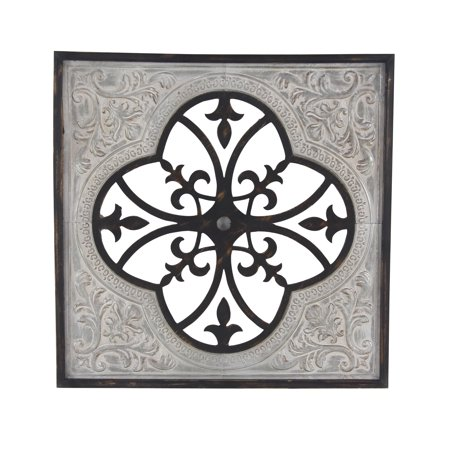 Decmode Traditional 35 X 35 Inch Square Wood And Metal Ornate Framed Wall (Square Traditional Wall)