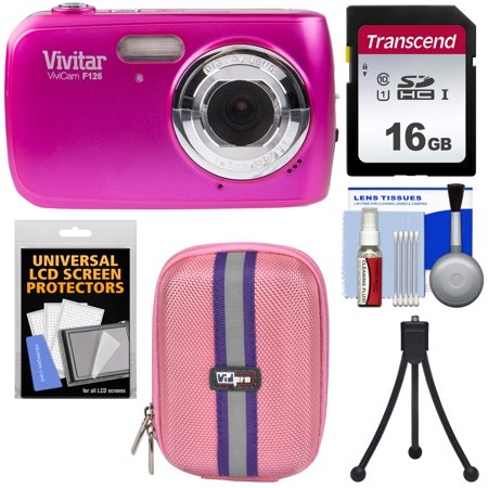 Vivitar ViviCam F126 Digital Camera (Pink) with 16GB Card + Case + Mini Tripod +