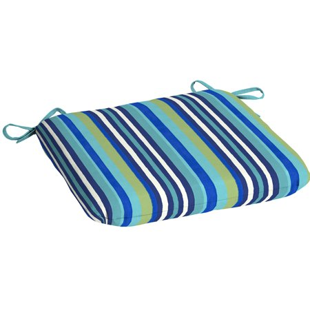 Mainstays Turquoise Stripe Outdoor Patio Dining Seat Cushion