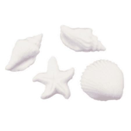 Set of 12 Seashells Starfish 1 1/4inch - 1 1/2inch Edible Sugar Cake & Cupcake Decoration Toppers (Starfish Decorations)