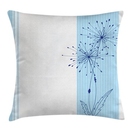 Striped Decor Throw Pillow Cushion Cover, Vertical Long Lines with a Single Flower Figure Simplistic Illustration Image, Decorative Square Accent Pillow Case, 18 X 18 Inches, Light Blue, by Ambesonne