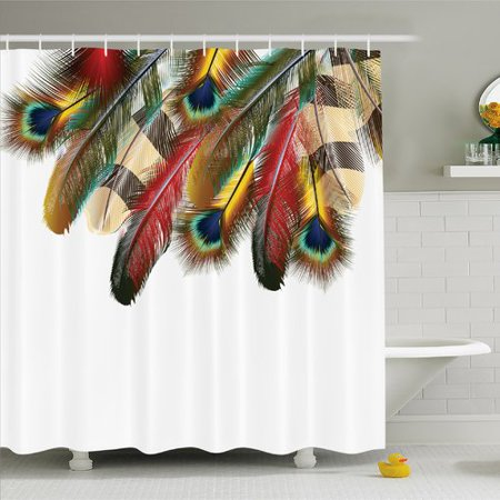 Peacock Shower Curtain Mystical Colorful Feathers Vibrant Universal Link Icons Bohemian Theme Fabric Bathroom Set With Hooks Multicolor