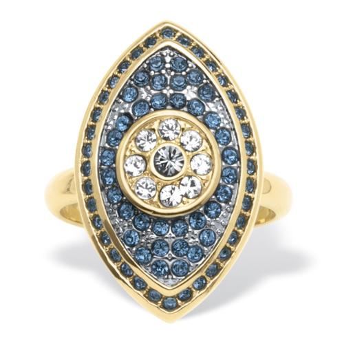 Blue Crystal Pave Eye Ring in 14k Gold-Plated - Size 8