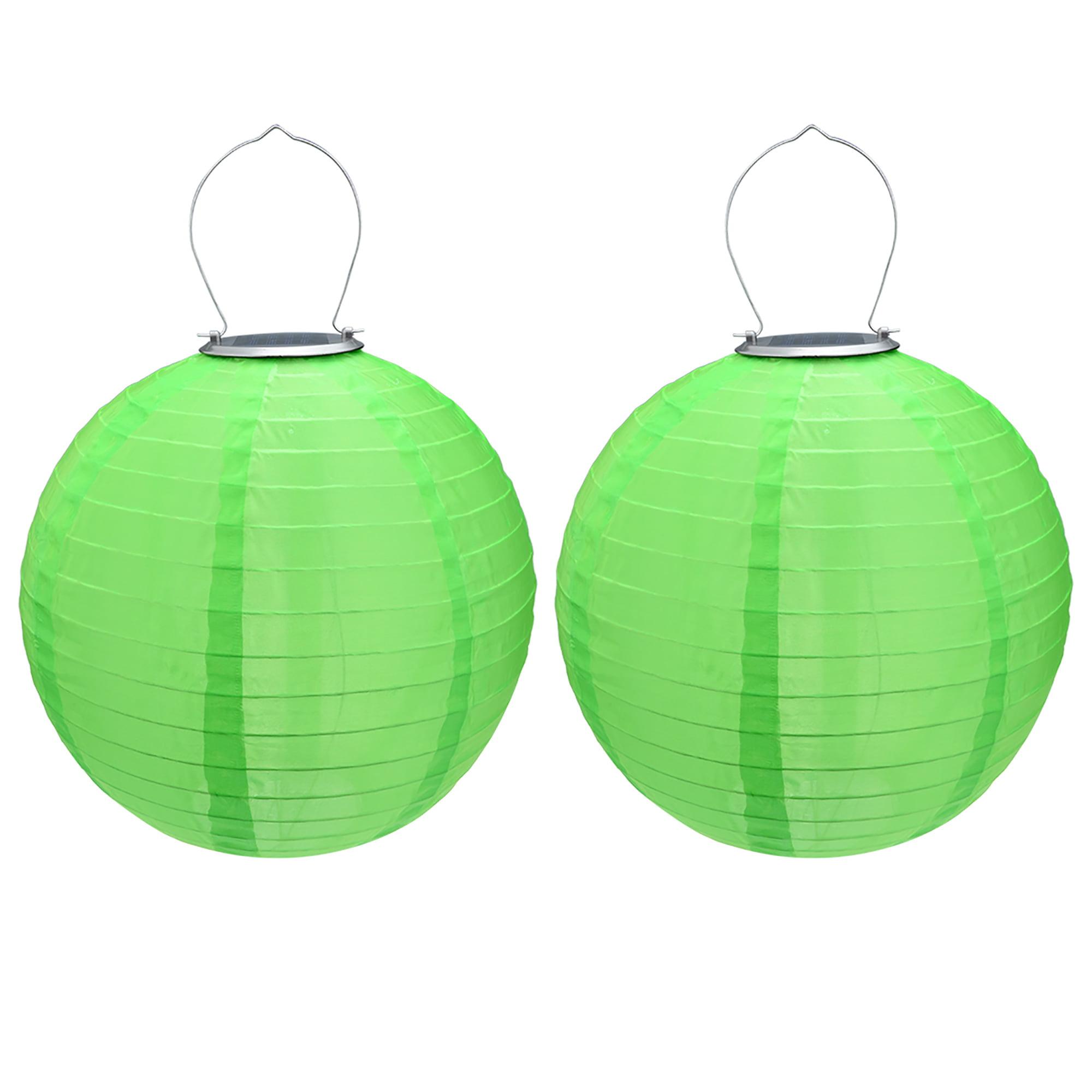 "2 Packs Green 12"" Solar Powered Lanterns Hanging Solar Lamps Garden"