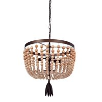 "3-Light 17"" Bohemian Wood Metal Pendant"