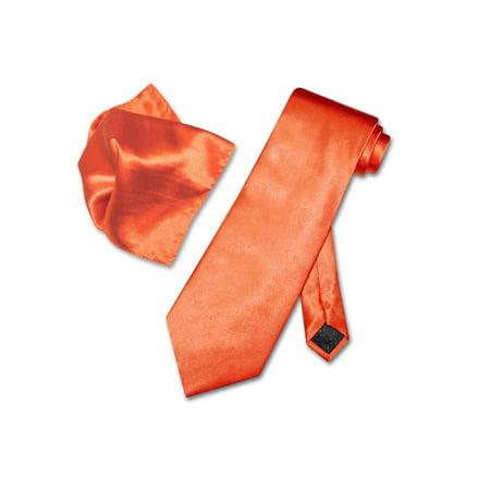 Antonio Ricci Solid ORANGE Color NeckTie & Handkerchief Men's Neck Tie Set (Orange Tie)