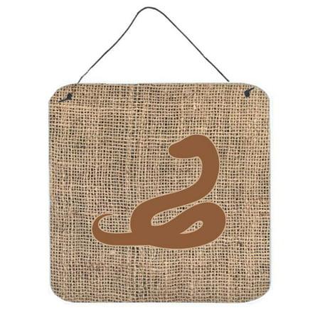 Brown Artificial Shade - Snake Burlap And Brown Aluminium Metal Wall Or Door Hanging Prints - 6 x 6 In.