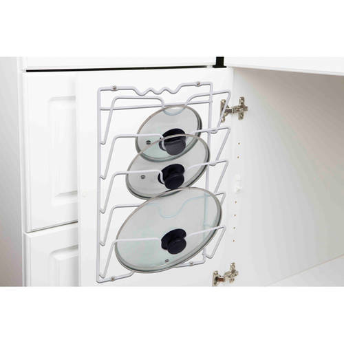 Home Basics Wall or Cabinet Mount Pot Lid Rack Organizer ...