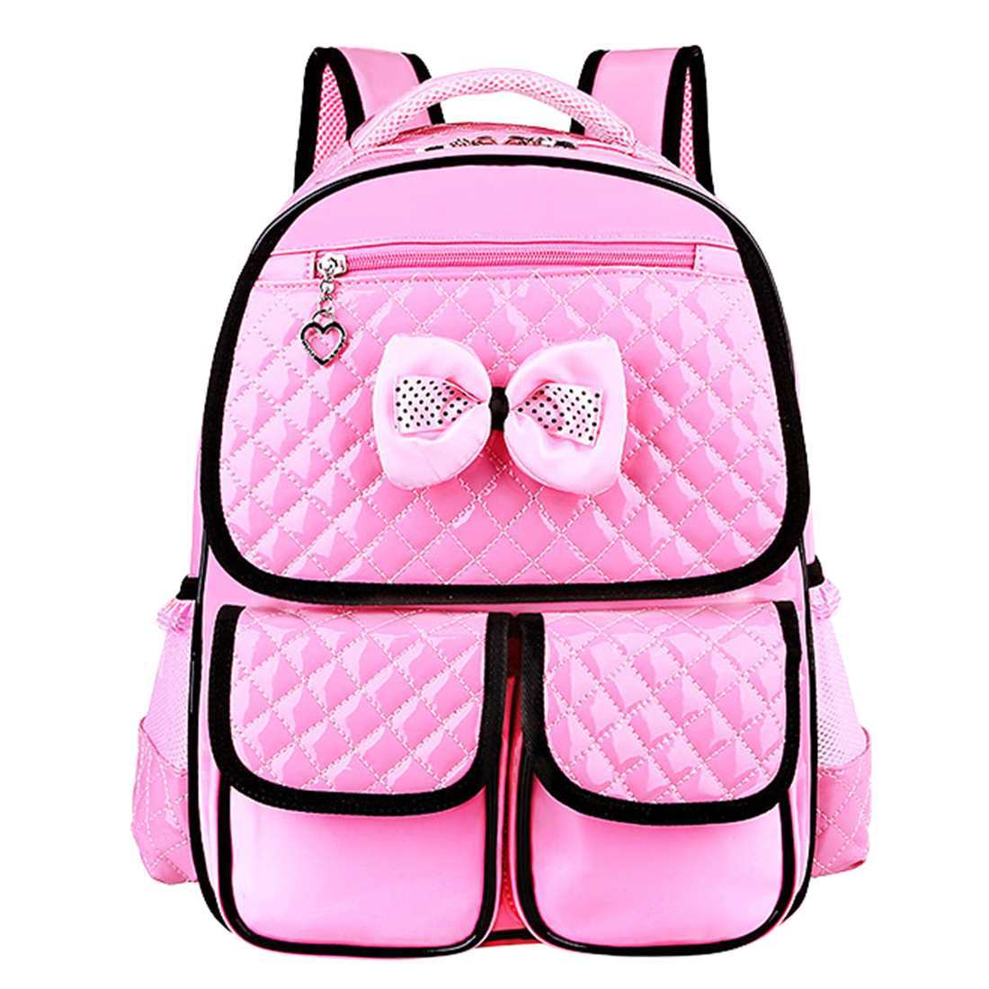 Girls School Backpack Pink Children Lovely Bowknot Plaid PU Leather Large Capacity Backpack School Student Shoulder Bag