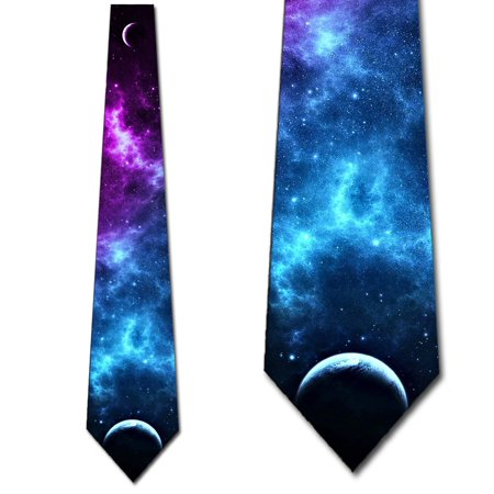 Space Ties Purple and Blue Celestial Bodies Necktie Mens Tie by Three Rooker ()