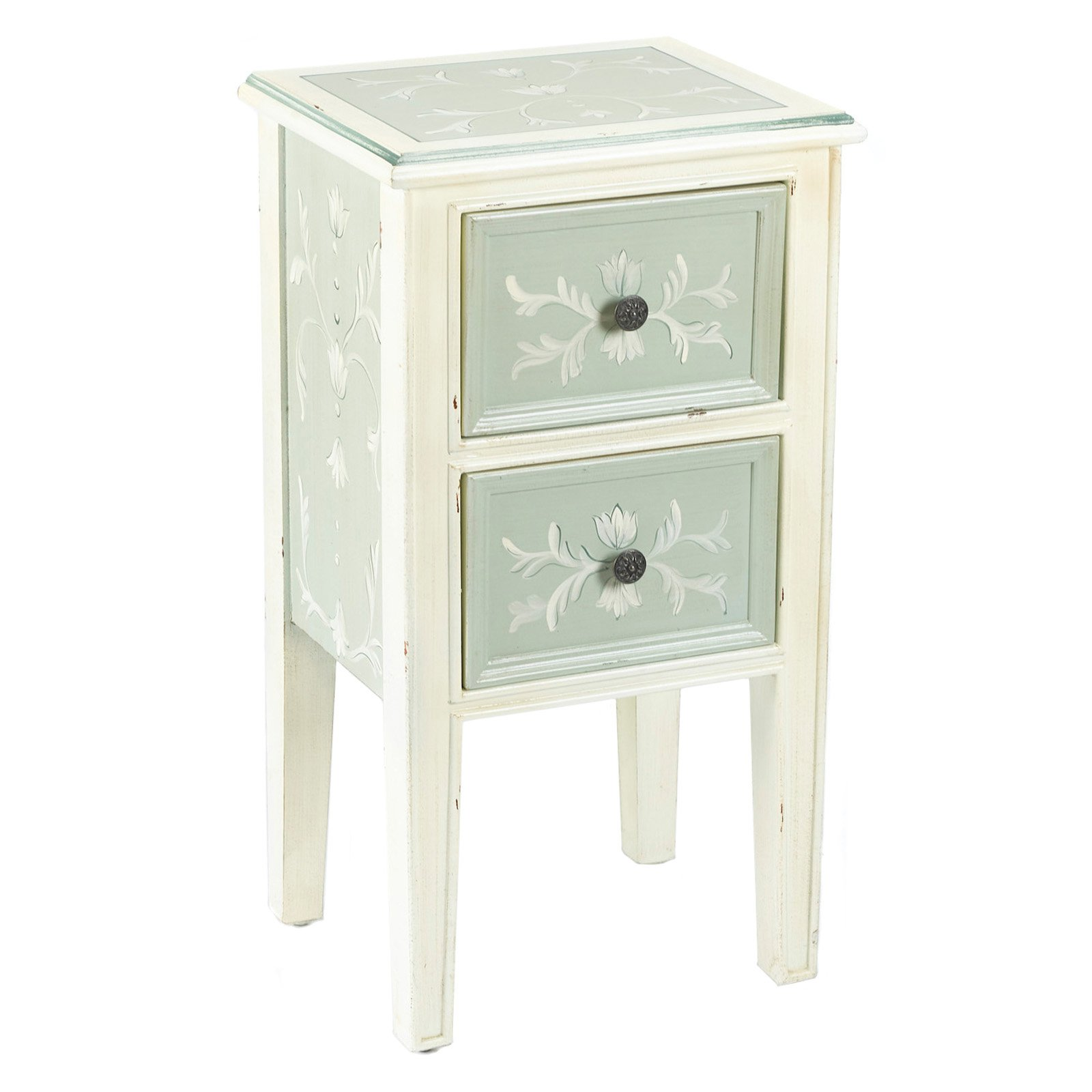 AA Importing 2 Drawer End Table Antique Green by AA Importing