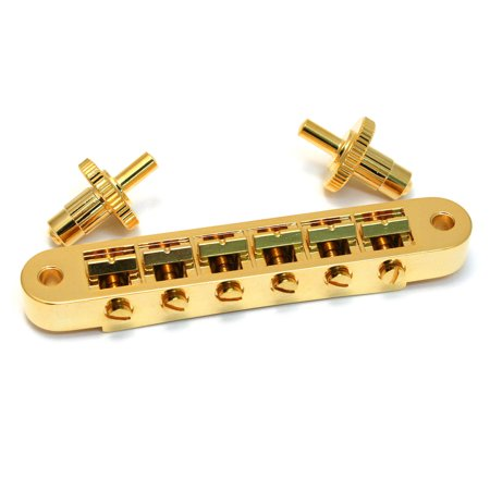 Grover Tuning Keys - Grover Tune-O-Matic Style Bridge, Includes 2 Inserts/2 Thumbwheels, Gold, 520G
