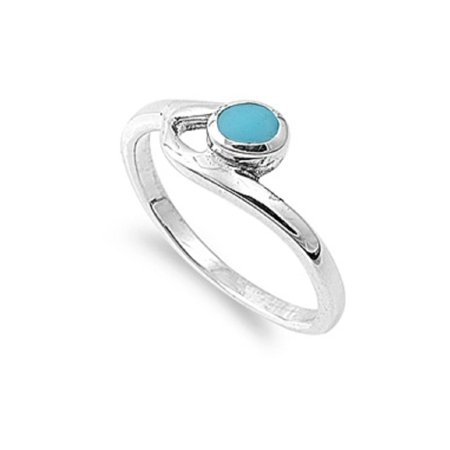 Round Simulated Turquoise Stone Staccato Ring Sterling (Sterling Silver Turquoise Stone Ring)