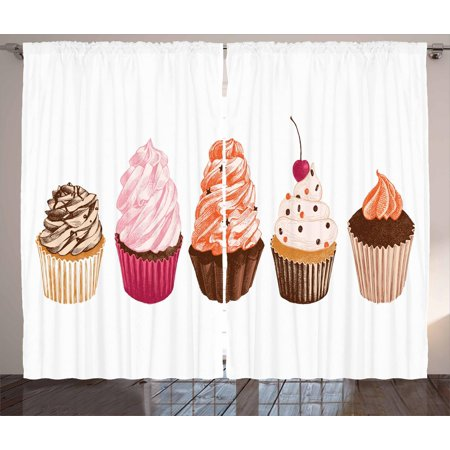 Cupcake Curtains 2 Panels Set Different Flavored Cakes