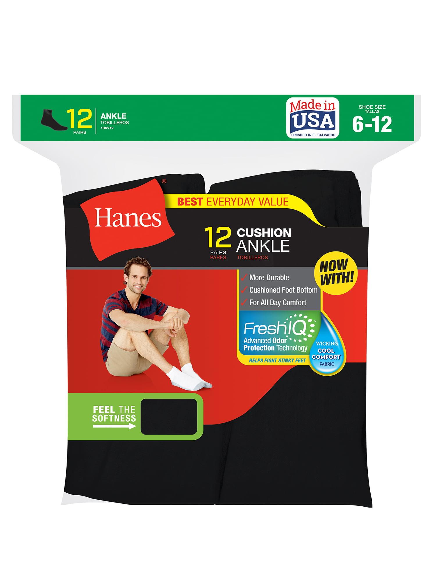 Hanes Men's Cushion FreshIQ Ankle Socks 12-Pack