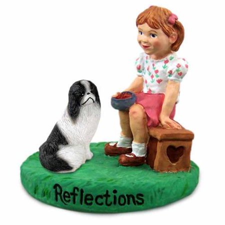 Japanese Chin Black & White Reflections w/Girl Figurine
