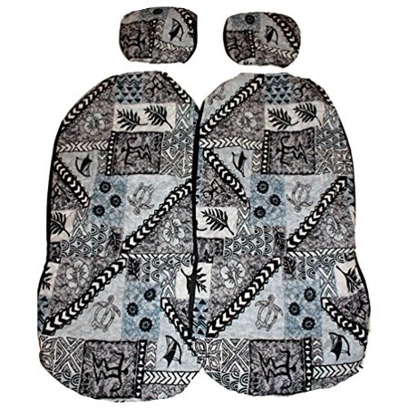 Hawaiian Car Seat Covers With Separated Headrest Gray
