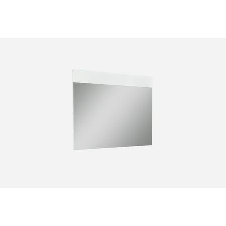 Whiteline Modern Living White Malibu Contemporary Oak Rectangle Mirror, Ready To Hang ()