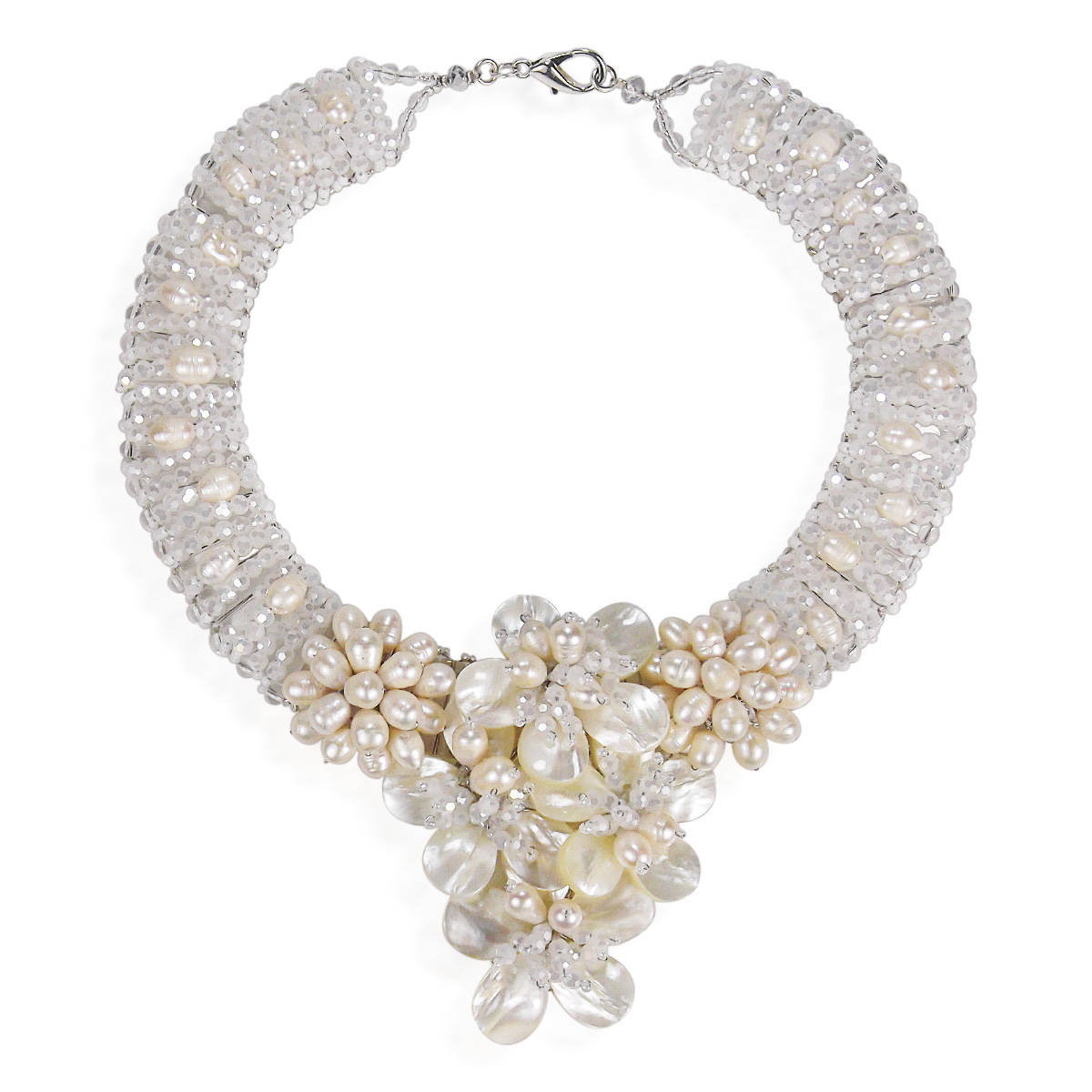 Floral Purity Mother of Pearl and Cultured Freshwater Pearl Bridal Necklace by