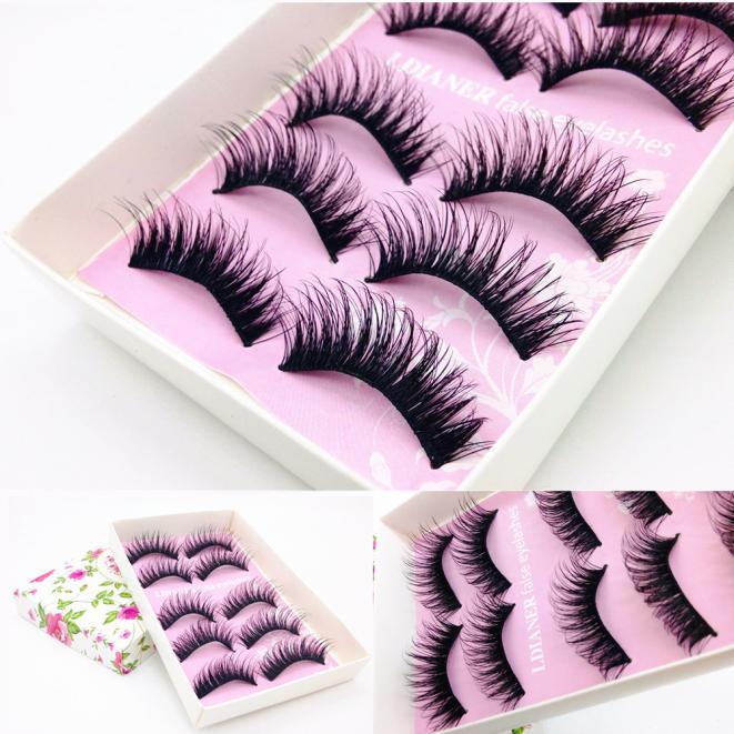Tuscom 5 Pairs Fashion Natural Handmade Long False Black Eyelashes Makeup