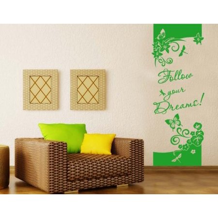 follow your dreams! wall decal - floral decorative strip wall decal
