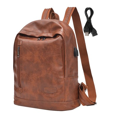 38e7f92e659e62 Vbiger Men Women PU Leather Backpack Fashionable School Shoulders Bag Stylish  Travel Backpacks Casual Outdoor Daypack