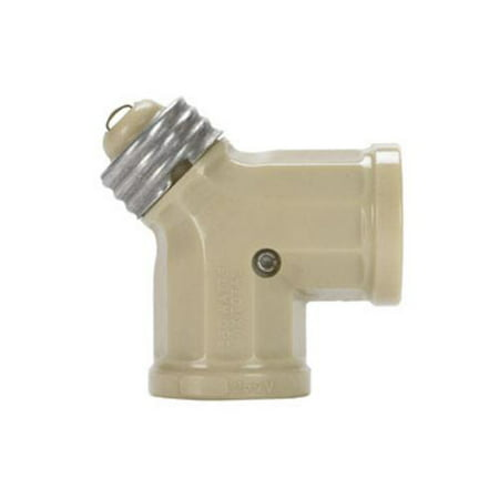 Leviton 006-00128-00I Twin Light Socket Adapter, Ivory