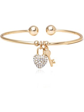 18kt Gold over Brass & Swarovski Elements Heart Lock and Key Charm Bangle