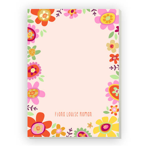 Bright Floral Personalized Notepad