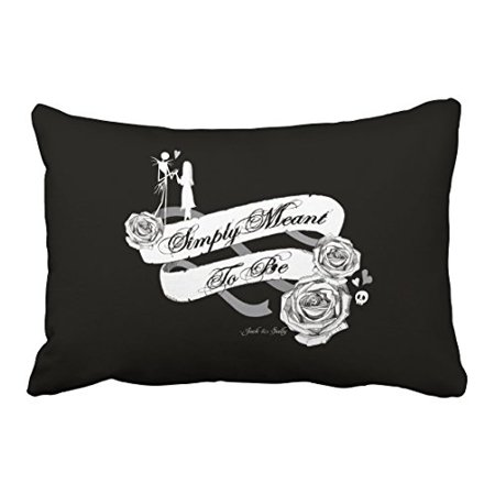 WinHome Vintage Skeletons and girls Love Flower Halloween Pattern Black And White Polyester 20 x 30 Inch Rectangle Throw Pillow Covers With Hidden Zipper Home Sofa Cushion Decorative Pillowcases](Vintage Black And White Halloween Clipart)