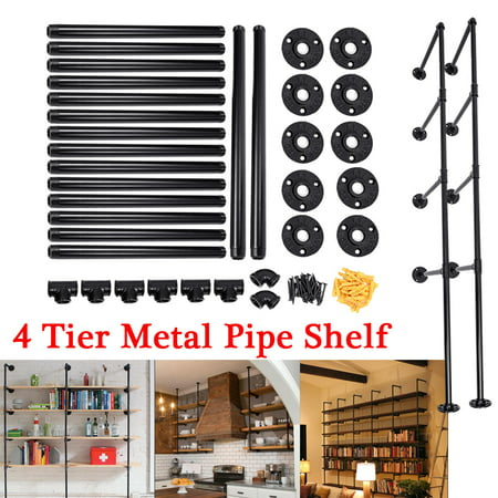 2Pcs AUGIENB 4-Tier Industrial Iron Pipe Shelf Brackets Wall-Mounted Bookshelf Frame, Customizable DIY Shelving, Floating Open Display Storage for Home, Office, Commercial Use 48 Open Shelf