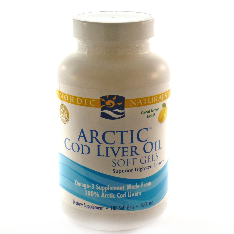 Nordic Naturals Arctic Cod Liver Oil Softgels, Lemon, 180 Ct