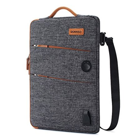 domiso 14 inch waterproof laptop bag canvas with usb charging port headphone hole for 14