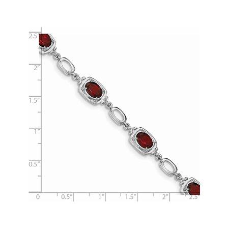 Argent 925 rhodi? Grenat Bracelet - image 1 de 2