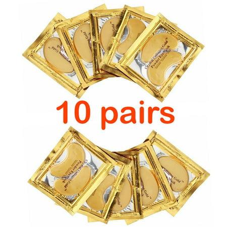 10 X Pairs Anti Aging Dark Circle Collagen 24k Gold Eye Patches Pad Mask Bag Gel