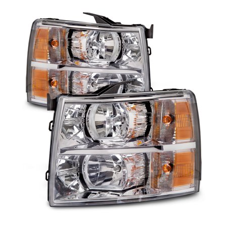 2007-2012 Chevrolet Silverado 1500/2500/3500 New Headlights Set Driver Left Passenger Right Headlamps Pair Assembly GM2502280 and (Silverado 1 Piece Headlight)